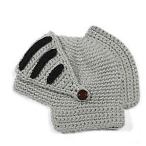 FEDSJUIHYG Roman Cosplay Ritter Helmvisier Häkelarbeitknit Strickmütze Winter-Maske Cap für Männer Frauen Grau Cosplay Beanie