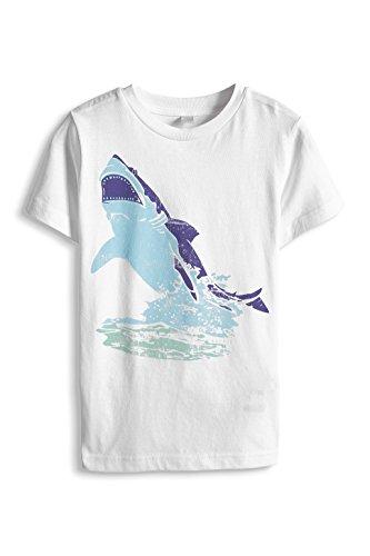 ESPRIT Jungen T-Shirt 045EE8K006, Animalprint, Gr. 104 (Herstellergröße: 104/110), Weiß (WHITE 100)