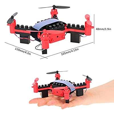 RC Quadcopter Drone with Camera Nano Quadcopter One Key Return DIY Building Blocks Drone Helicopter
