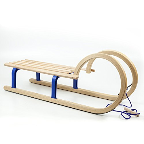 HolzFee Colint Baran Blue Schlitten + Zugseil Hörnerschlitten 100 cm Hörnerrodel Blau