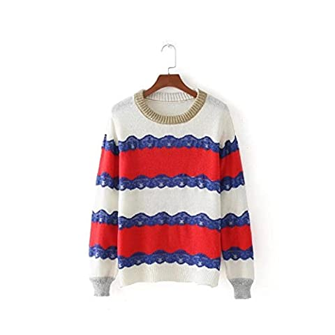 CHLXI Women's Sweaters With Long Sleeves Round Neck Lace Striped Knit Sweaters,Red-S
