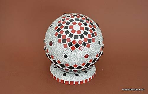 Handgemachte Rosenkugel rot schwarz spiegel 15 cm