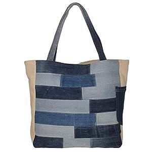 Denim Tote Bag, Shopper Damen groß, Stilvolle Handtasche Damen, Damen Tasche Blau Weiß, Nachhaltige Schultertasche Damen Große Kapazität, Einkaufstasche Frauen