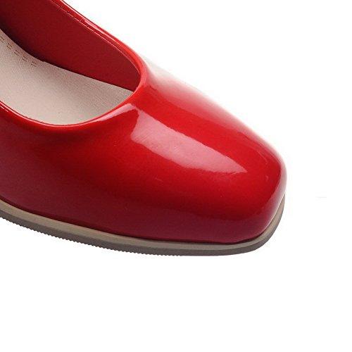 Quadrato Tira Ai Scarpe Donna Colore Corretti Solido Tacco Materiale Miscelato Rossa Luce Agoolar WnfOz