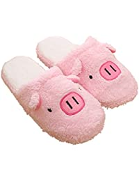 ed339950f706c Rojeam Mesdames Filles Tricoté Caractère Animal Belle Cochon Cut Pantoufles  de Lapin Slip sur Nouveauté Peluche Chaud Pantoufles…