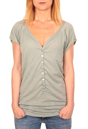 Ella Manue Damen Frauen Button Down Serafino Shirt Louise , Größe: S, Farbe: Mint (Seide Baumwolle-button-down-shirt)