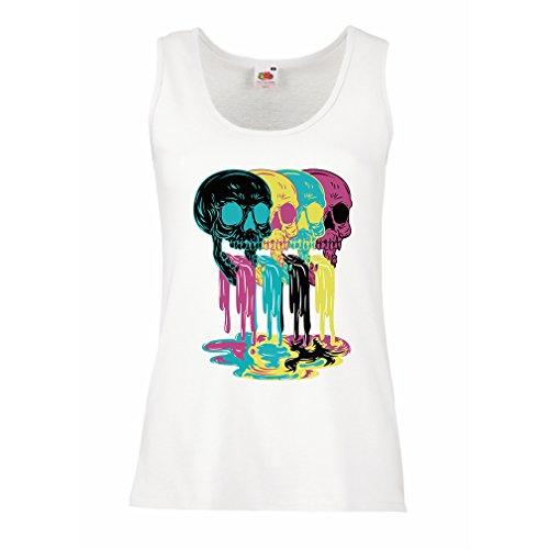 Femme Débardeur Sans manche Coloré crânes de style de la mode cadeau idée Blanc Multicolore