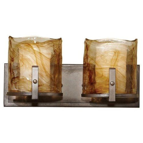 Murray Feiss Arts (Murray Feiss VS18902-RBZ Aris Collection 2-Light Vanity Fixture, Roman Bronze Finish with Amber Swirl Art Glass by Murray Feiss)