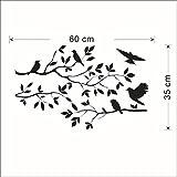 SUccess Sticker Mur par un Arbre Romantique et Oiseau Noir Oiseau Arbre Branche Stickers Muraux Amovible Stickers Muraux Art Accueil Mural Décor Autocollants (Noir)