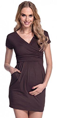 Happy Mama. Damen Umstands-Kleid. Schwangerschafts Tulpenkleid mit Taschen. 806p (Schokolade, EU 38, M) -