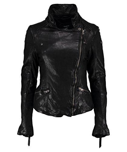 TIGHA Damen Bikerjacke Lederjacke JANE schwarz vintage black (L)