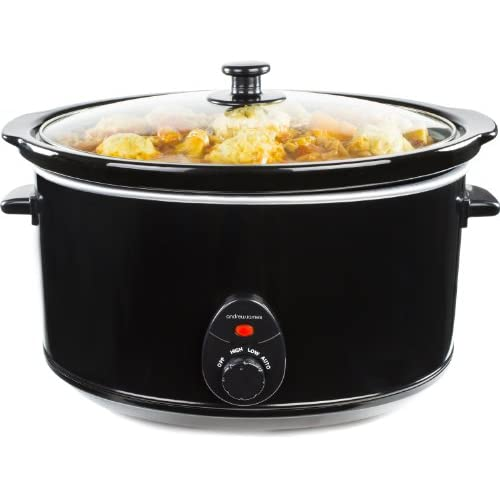 Andrew James Slow Cooker Large 8 Litres | Tempered Glass Lid & Removable Ceramic Bowl | Ideal for Making up to 25 Portions of Slow Cooker Recipes | 3 Temperature Settings | 380W | Black