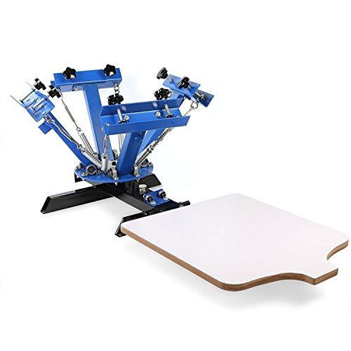 BuoQua Screen Printing Machine 4 Farbe 1 Station Siebdruckmaschine Single Rotary Siebdruck für DIY Shirt Metall Papier Glas usw.(4 Farbe 1 ()