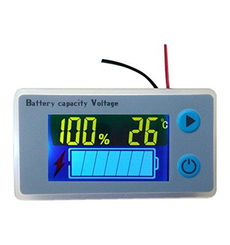 Voltmetro per Batteria al Piombo Acido, Multifunzione, LCD, per Misurare la Capacità della Batteria, con Indicazione della Temperatura, Spia per Monitorare la Tensio