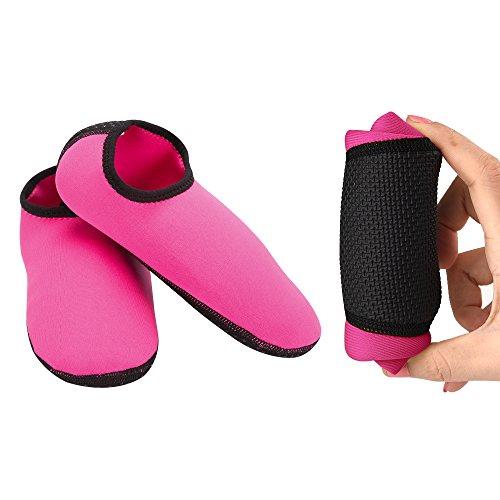 FEPITO Hombre Mujer Zapatillas deportivas de agua de secado rápido Unisex Piel descalza Zapatos para nadar Yoga Playa de arena Correr Snorkeling Natación Buceo Drift(Size:L Color: Pink)