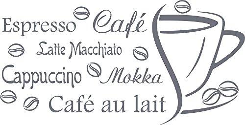 _071 Wandtattoo Küche Kaffee Espresso Café Cappuccino Wand-Worte | Wand-Sprüche und Zitate für Fliesen - Wände - Möbel | für Restaurant und Bars (59x30cm//071 grau) ()