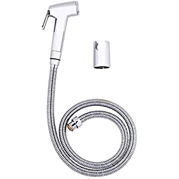 JADENN HOME Complete Set of ABS Health Faucet Gun , 1 m Flexible Tube with Stainless Steel Braiding and Holder for Bathroom (Chrome Finish)