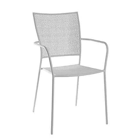 greemotion Metall-Stapelstuhl Mykonos in Weiß pulverbeschichtet - Gartenstuhl stapelbar - Balkonstuhl aus Stahl – Stapelsessel mit Armlehne - Bistrostuhl zum Stapeln - Stuhl für Garten, Terrasse & Balkon