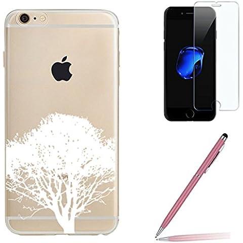 iPhone 7 Custodia con Pellicola Protettiva Vetro Temperato e Stilo Penna, Yoowei Rosa Ciliegia Disegni (Viola Nuovo Pennino)
