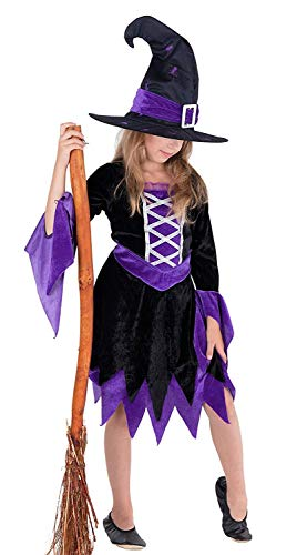 Hexe Mädchen Schwarze Kostüm - Magicoo Magierin Hexenkostüm Kinder Mädchen lila-schwarz-Silber & Hut - schickes Halloween Kostüm Kind Hexe, Gr.110-140 (92/104)