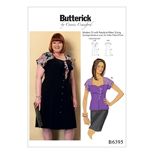 Butterick Patterns Butterick Pattern 6395Miss, Donna, taglie camicetta e vestito, misure XS-L, Multicolore