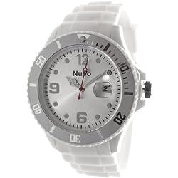 Nuvo - NU13H13 - Unisex Armbanduhr - Quartz - Analog - Weißes Zifferblatt - Weißes Armband aus Silikon - Modisch - Elegant - Stylish