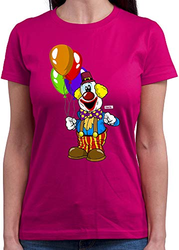 HARIZ  Damen T-Shirt Rundhals Clown Luftballons Fröhlich Karneval Kostüm Inkl. Geschenk Karte Pink L