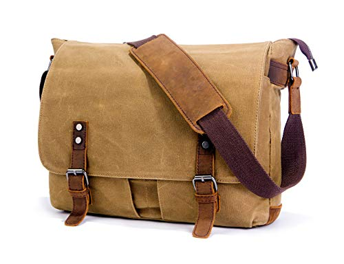 e97813bd7e SUVOM Mens Messenger Bag, Echtes Leder Canvas Messenger Bag, Wasserdichte  Laptop Messenger Bag Für