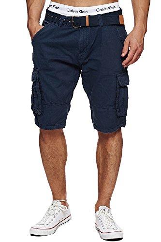 Indicode Herren Monroe Cargo ZA Cargo Shorts Bermuda Kurze Hose mit Gürtel Navy L