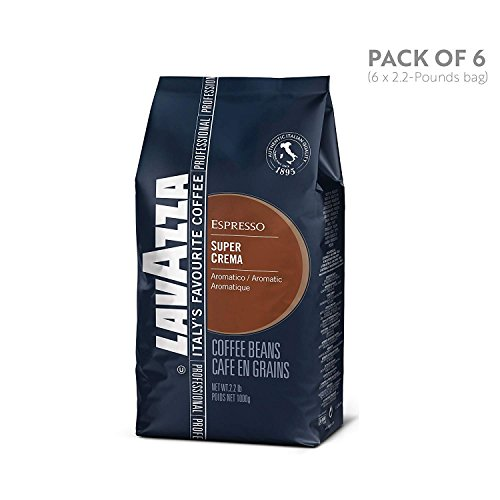 Lavazza Super Crema Whole Bean Coffee Blend, Medium Espresso Roast, 2.2-Pound Bags (Case of 6)