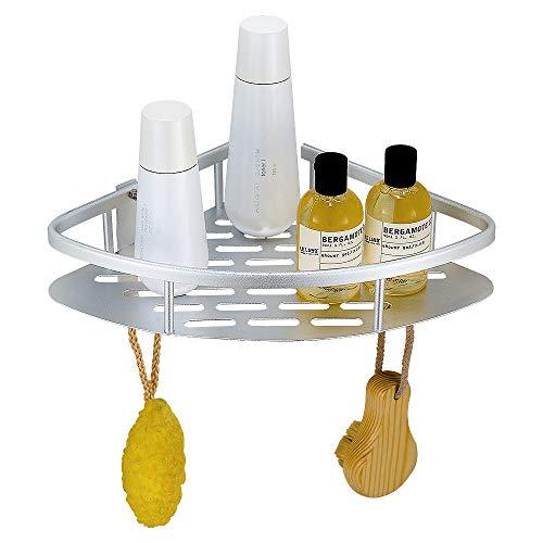 Geruike mensola triangolare per la doccia cestello portaoggetti per bagno e cucina, alluminio antiruggine con 2 ganci, colla per non fare alcun foro, color argento