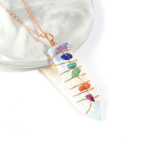YANOAID Reiki Natursteine   7 Chakra Anhänger Halskette Schwert Pendel Charms Opal Heilung Kristall Anhänger Schmuck (Edelstein-halskette Schwert)