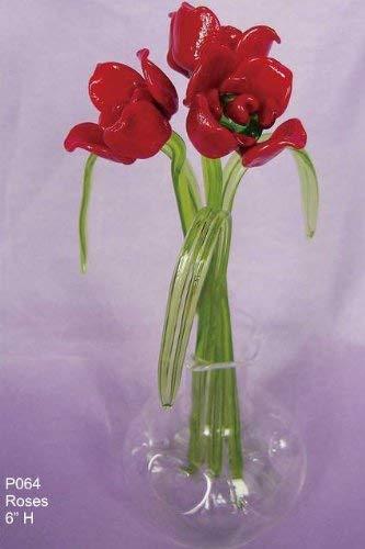 Diseño de flores de cristal en caja de cristal de rosas rojas