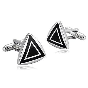 Aienid Manschettenknöpfe Edelstahl Doppel Dreieck Silber Schwarz