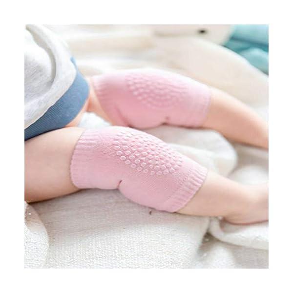 5 pares de rodilleras para bebé, multicolor, antideslizantes, ajustables y elásticas, para bebés de 0 a 24 meses 3