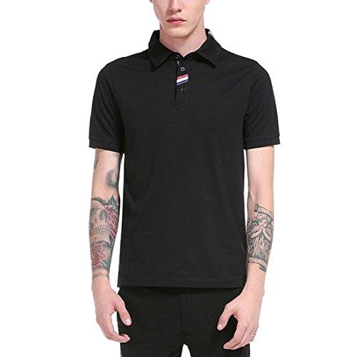 Vertvie Herren Poloshirt Sommer Kurzarm Basic Polohemd Mode Umlegekragen Slim Fit T-Shirt Schwarz