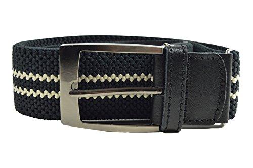 Olata Elastischer Gürtel für Herren, voll einstellbar, mit Leder Trimm, 4cm. 115cm. Schwarz/Weiß Doppel Streifen -