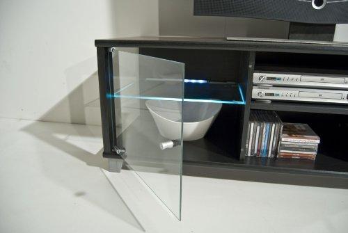 TV-BANK / Fernseh-Schrank / Sideboard in Escheoptik schwarz inkl. LED-Beleuchtung weiß – B 140 cm - 4