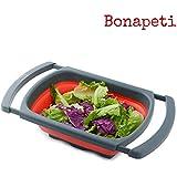 Passoire pliable haut de gamme Bonapeti - Fonction main libre rouge et grise en silicone - Un égouttoir avec des poignées extensibles pour s'adapter à tous les éviers - Grande capacité et rétractable - Garantie 1 an (Rouge)