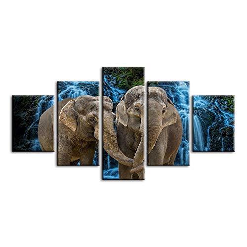 7JOHN Pintura sobre Lienzo, 5 Piezas, Dos Elefantes, póster, Cuadros de Arte