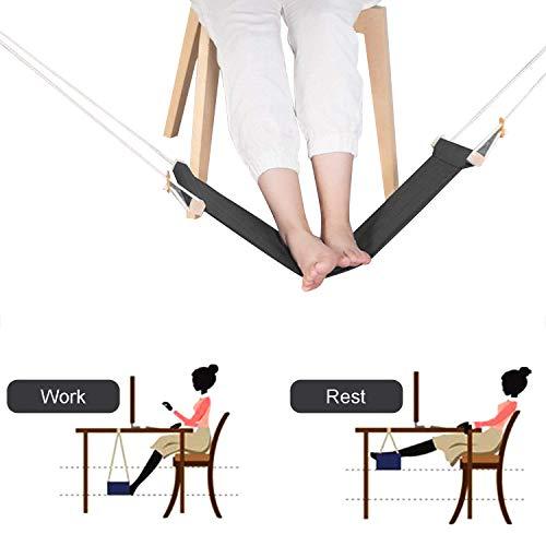 Piedi Amaca 2.0, Porta Cuffie incluso, KidsHobby Supporto Regolabile Ergonomico Portatile per Amaca, Rilassa i piedi e allevia la fatica, Perfetto per l'home office (Nero)