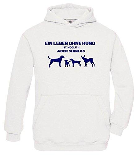 ist möglich - aber sinnlos ! ! Jungen und Mädchen Hunde Sweatshirt mit Kapuze HOODIE WEISS, Gr.164cm (Pudel-rock-kostüm Mädchen)