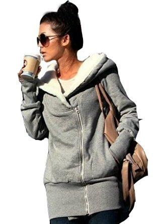 Newfacelook Frauen Damen Doppel Reißverschluss Fell Sweatshirt Pullover lässig oben Jacke Mantel Kapuze (Doppel-zip-kapuzen-jacke)