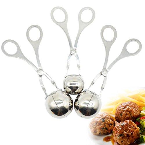 3 Stück Frikadelle Scoop Maker - Professionelle Edelstahl Fleisch Baller Cookie Teig Scoop, Kugel Form Ball Maker für Kuchen oder Fleisch, Premium Küche Werkzeug