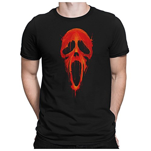PAPAYANA - Bloody-Scream - Herren Fun T-Shirt - Halloween Ghost Es Horror Film Maske Kostüm - S Schwarz