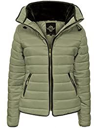 b1f4507c92f Hina Fashion Frauen   Damen gesteppte Puffer Padded Blase Pelz-Kragen-Jacken -Mantel