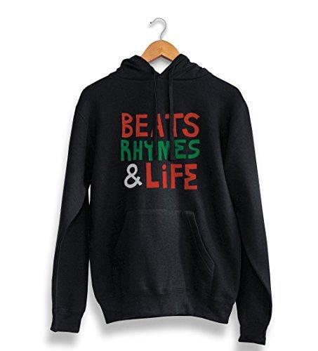 Preisvergleich Produktbild Beats Rhymes und Leben Kapuzenpulli schwarz - 90er jahre Hip Hop klassisch rap, Tribe Called Quest t-shirt - Schwarz, Small