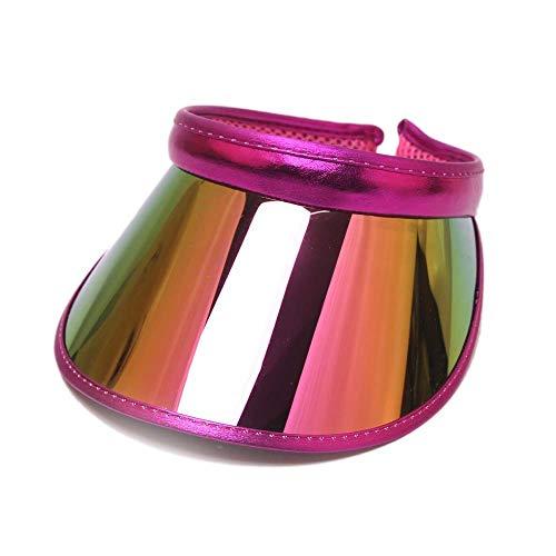 Rote Damen Candy Kappe (Sonnenkappe Poker Visor-Cap Retro Schildkappe im Freien Sonnenhüte Hut für Damen und Herren,Leere Top PVC Kappe Candy Farbe UV-Schutz Outdoor Sport Freizeit Sonnenhut, Rose rot)