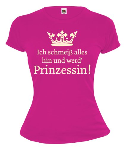 buXsbaum Girlie T-Shirt Ich schmeiß alles hin und werd Prinzessin Fuchsia-Beige