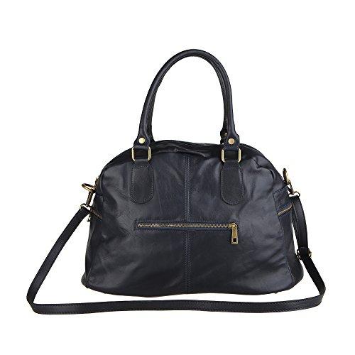 Chicca Borse Handbag Borsa a Mano da Donna con Tracolla in Vera Pelle Made in Italy 47x29x21 Cm Blu